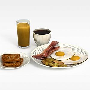 3d咖啡面包模型