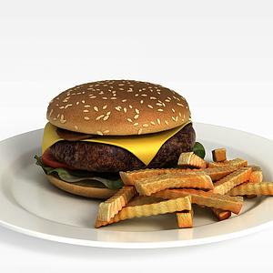 3d双层汉堡模型