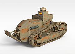 金属坦克车模型3d模型