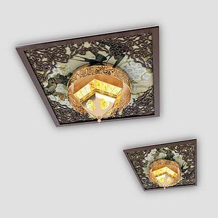 中式水晶吸顶灯3d模型