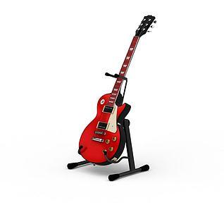 红色吉他3d模型