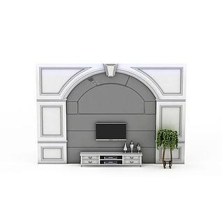 欧式电视墙3d模型