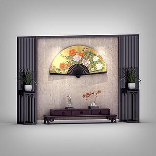 中式电视墙3d模型