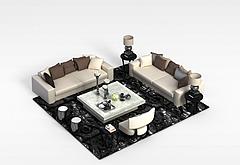 时尚沙发茶几组合模型3d模型