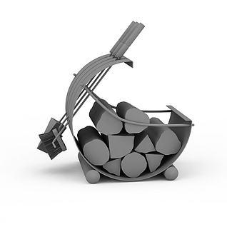 柴火筐3d模型