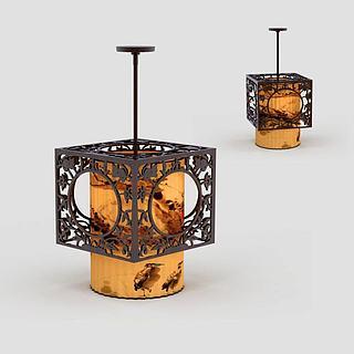 中式镂空吊灯3d模型