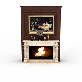 欧式壁炉背景墙3d模型