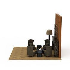 简约背景墙3D模型3d模型