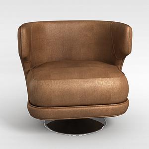 3d褐色布藝沙發模型