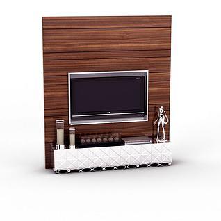 实木电视背景墙3d模型