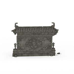 古代影壁模型3d模型