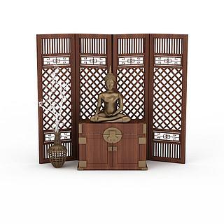 中式背景墙3d模型
