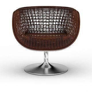 单人休闲藤椅3d模型