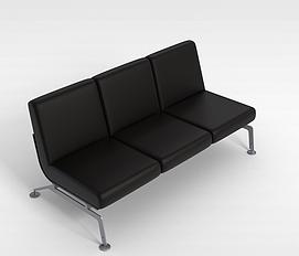 黑色三<font class='myIsRed'>人</font>沙发3d模型