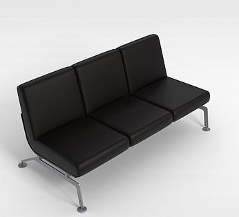 黑色三人沙发