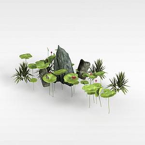 3d山石景觀組合模型