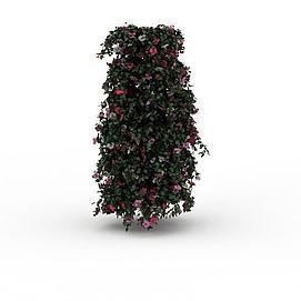 大厅鲜花盆景3d模型