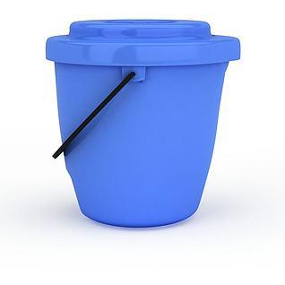 蓝色水桶3d模型