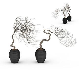 艺术花盆景观3d模型