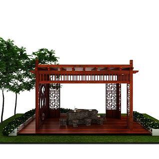 公园凉亭3d模型