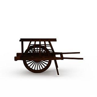 木质独轮车3d模型