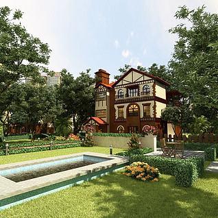 花园式洋房3d模型