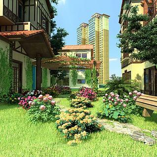 小区景观小景3d模型