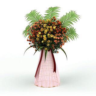 彩色茶玫花篮3d模型