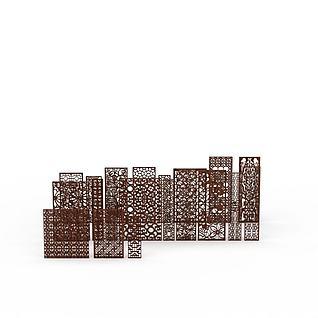雕花隔扇合集3d模型