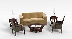 简约浅色沙发茶几模型3d模型