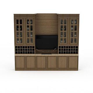 镂空实木橱柜3d模型