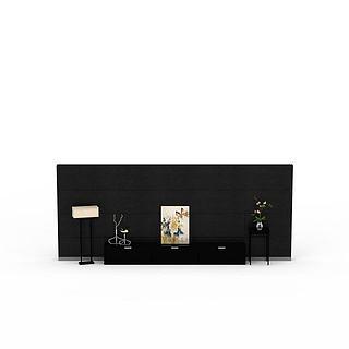 现代背景墙3d模型