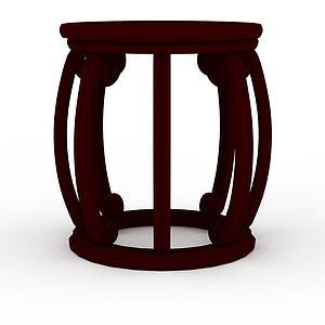 木质鼓凳模型3d模型