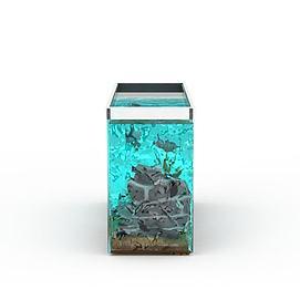 客厅玻璃鱼缸模型