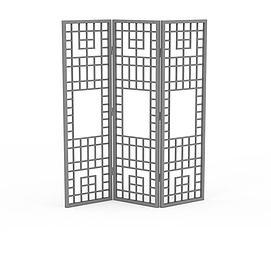 折叠屏风隔断3d模型