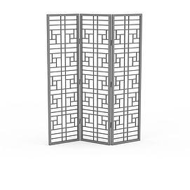 简易折叠屏风隔断3d模型