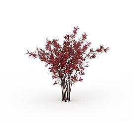 3d红色灌木模型