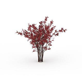 红色灌木3d模型
