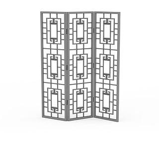 木质镂空屏风3d模型