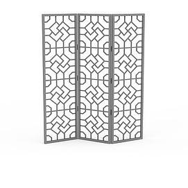 折叠镂空屏风3d模型