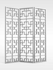 室内折叠屏风3d模型