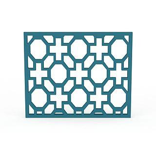 蓝色镂空方形窗3d模型