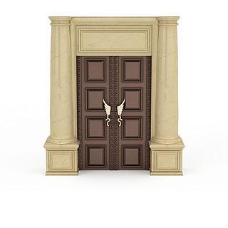 高档木质双开门3d模型