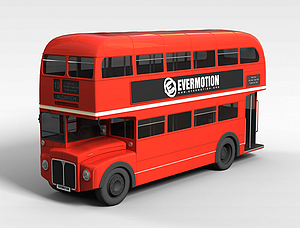 3d紅色<font class='myIsRed'>公交車</font>模型