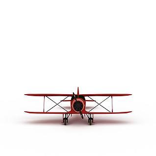 红色螺旋桨飞机3d模型