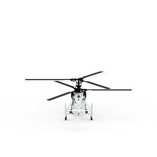 白色直升机3d模型