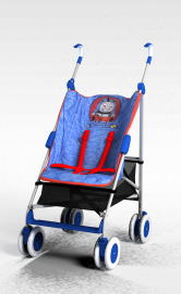 3d扶手婴儿车模型
