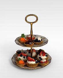 <font class='myIsRed'>蛋糕</font>陶瓷盘子3d模型