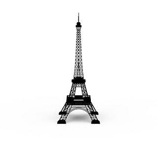 黑色埃菲尔铁塔3d模型