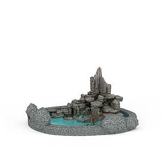 假山池塘景观3d模型